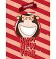 Happy New Year with monkey in festive frame vector image vector image