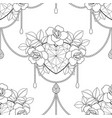 heart and roses outline seamless pattern vector image vector image