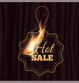 hot sale badge design template with realistic fire vector image