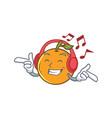 listening orange fruit cartoon character vector image vector image