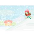 Little girl sledding vector image vector image