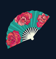 Oriental fan decorated with roses vector image vector image