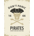 pirate banner with skull cocked hat and bones vector image