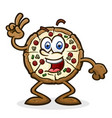 pizza cartoon character giving peace sign vector image vector image