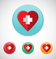 red cross heart icon set vector image vector image