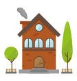 residential brick house building icon vector image