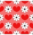 Seamless background with hearts and chamomiles vector image vector image