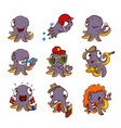 set of purple octopuses in different vector image vector image