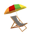 sunbed with umbrella flat icon cartoon vector image vector image