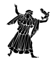 Tattoo of the Greek with a pigeon in a hand vector image