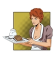 The waitress with a tray delivers breakfast vector image