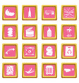waste and garbage icons pink vector image vector image