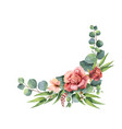 watercolor hand painted wreath with green vector image vector image