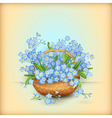 Wicker basket with flowers vector image