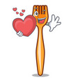 with heart plastic fork on use for mascot vector image