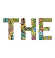 word the decorative zentangle object vector image