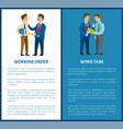 working order and work task office worker duties vector image vector image