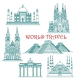 World travel landmarks thin line icons vector image vector image