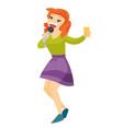 young caucasian white woman singing karaoke vector image