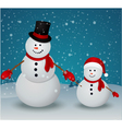 Christmas Greeting Card with snowman family vector image