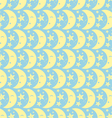 Yellow Happy Cute Moon and Star Pattern on Pastel vector image
