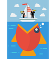 Big fish prepare to eat careless business people vector image