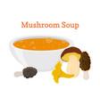 mushroom soup vegetable food cartoon flat style vector image