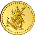 shiny gold coin with the image of dancing and play vector image