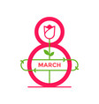 8 march greeting icon or logo design template vector image