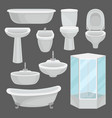bathroom furniture set interior elements and vector image