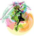 beautiful dancing girl in movement urban culture vector image vector image
