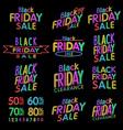 Black Friday Designs NEON Retro Style Elements vector image vector image