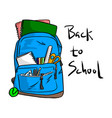 blue school bag with items for students vector image
