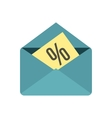 Card with percent sign the envelope icon vector image