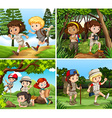Children hiking in the woods vector image vector image