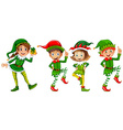 Christmas elf in green costume vector image vector image