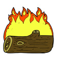 comic cartoon burning log vector image vector image