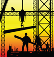 construction worker at work and dusk vector image vector image