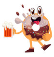 donut with beer on white background vector image