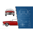 engineering blueprint of car vintage cabriolet vector image vector image