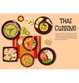 Exotic thai cuisine popular dishes flat icon vector image