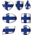 Finnish Flag in various shape glossy button vector image vector image