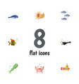 flat icon marine set of fish octopus seafood and vector image vector image