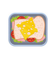 flat icon of delicious sandwich with ham vector image vector image