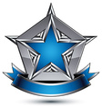 glorious glossy design element luxury blue 3d star