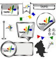 glossy icons with flag of taipei taiwan vector image vector image