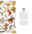 hand drawn wild west cowboy vector image vector image