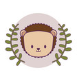 head cute porcupine in frame circular with vector image vector image