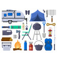hiking camping outdoor adventure tourist elements vector image