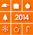 Icons set of new year 2014 on orange background vector image